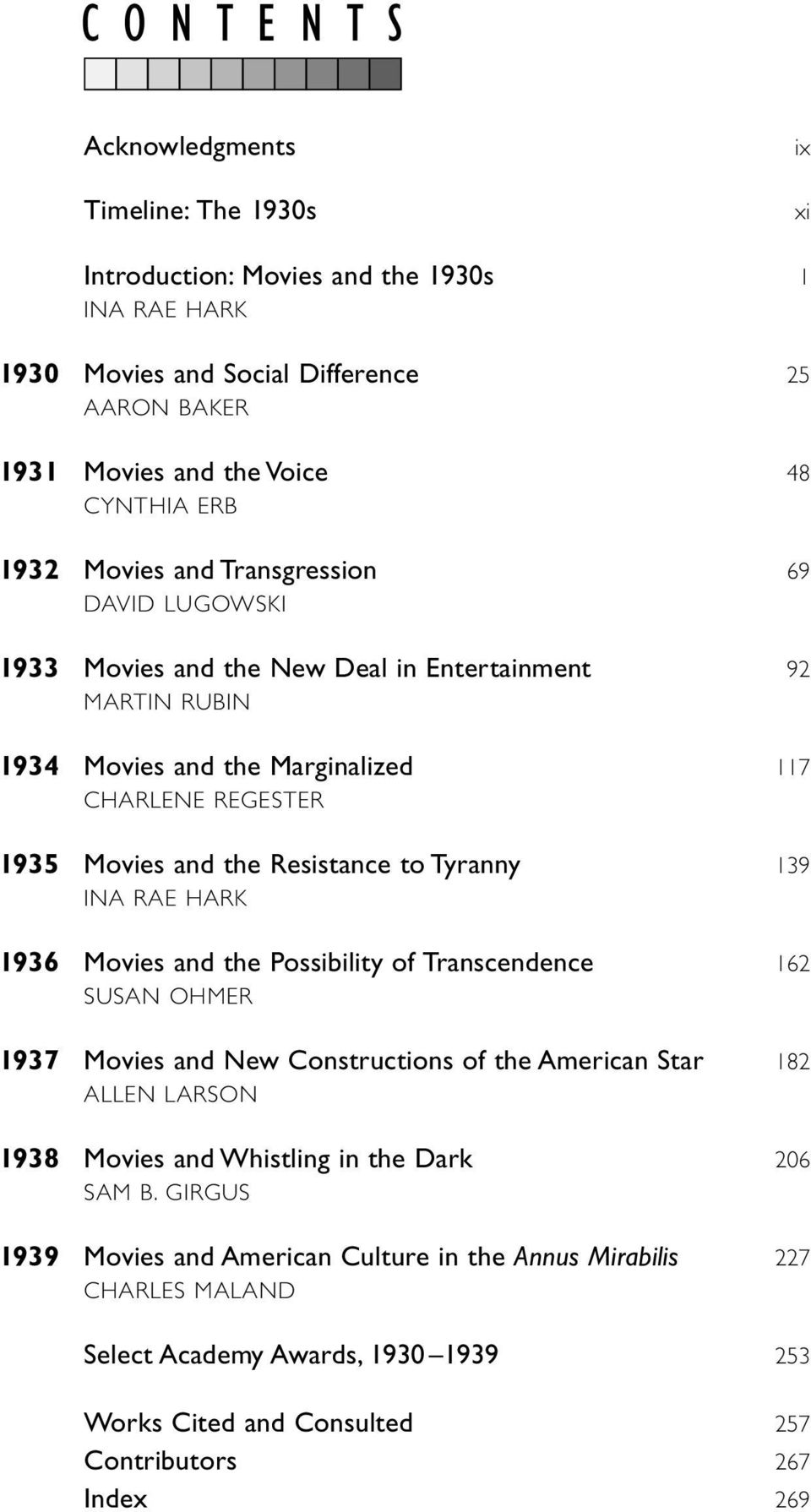 Resistance to Tyranny 139 INA RAE HARK 1936 Movies and the Possibility of Transcendence 162 SUSAN OHMER 1937 Movies and New Constructions of the American Star 182 ALLEN LARSON 1938 Movies and