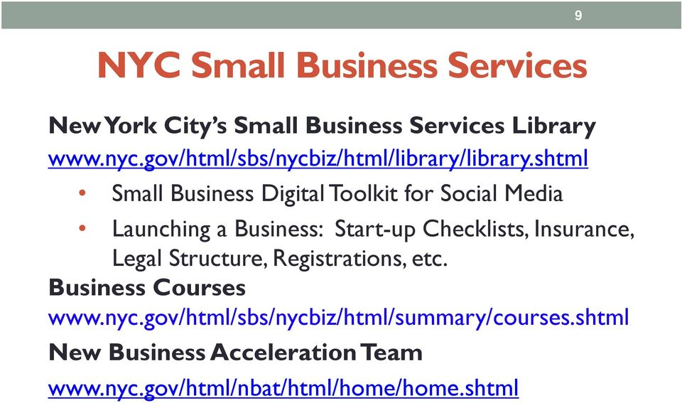 shtml Small Business Digital Toolkit for Social Media Launching a Business: Start-up Checklists,