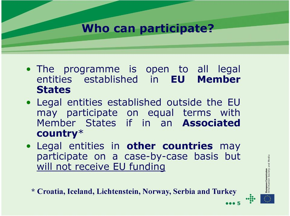 established outside the EU may participate on equal terms with Member States if in an Associated