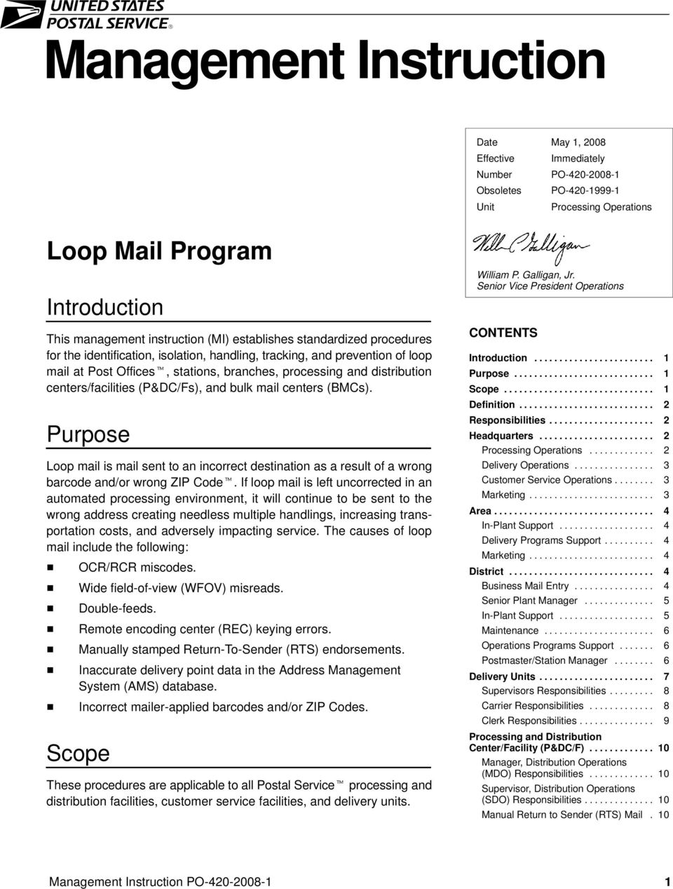 centers/facilities (P&DC/Fs), and bulk mail centers (BMCs). Purpose Loop mail is mail sent to an incorrect destination as a result of a wrong barcode and/or wrong ZIP Code.