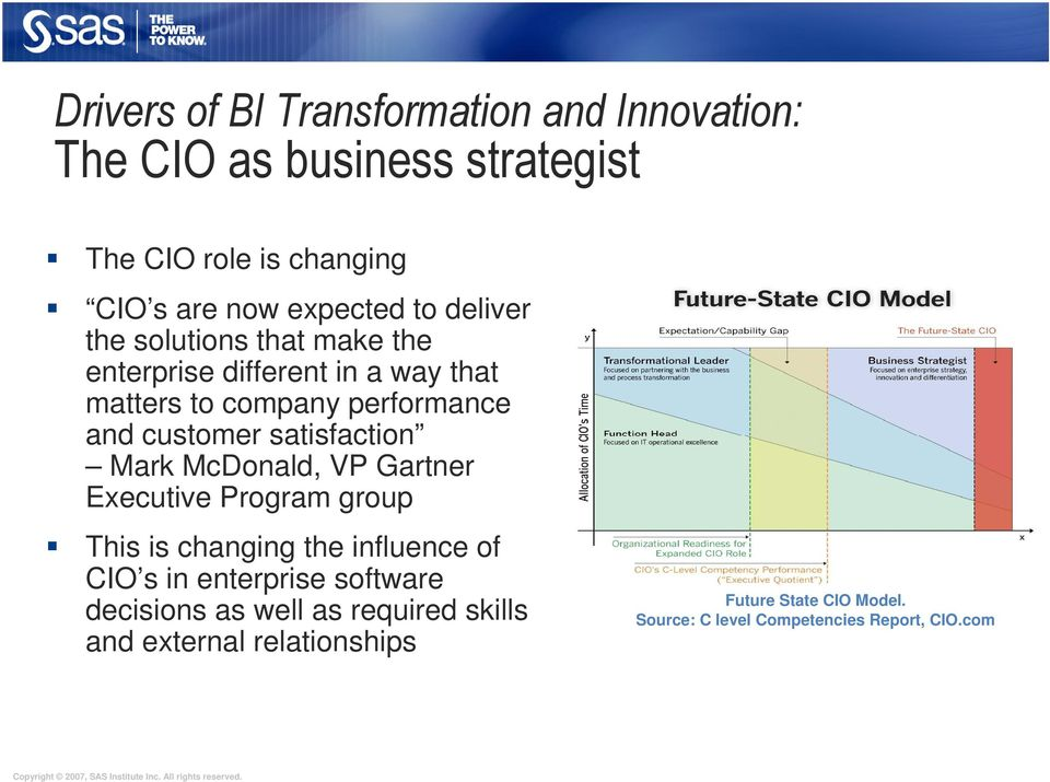 satisfaction Mark McDonald, VP Gartner Executive Program group This is changing the influence of CIO s in enterprise