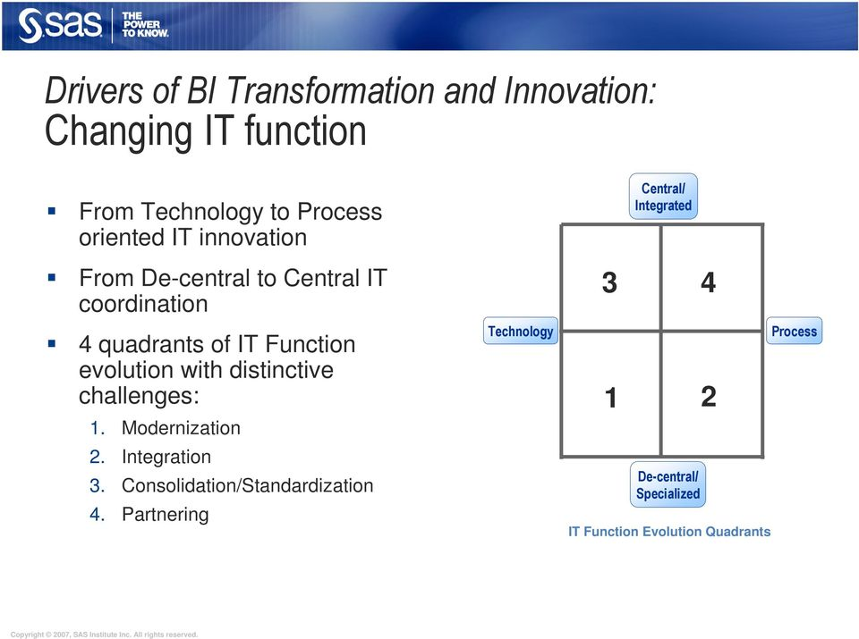 distinctive challenges: 1. Modernization 2. Integration 3. Consolidation/Standardization 4.