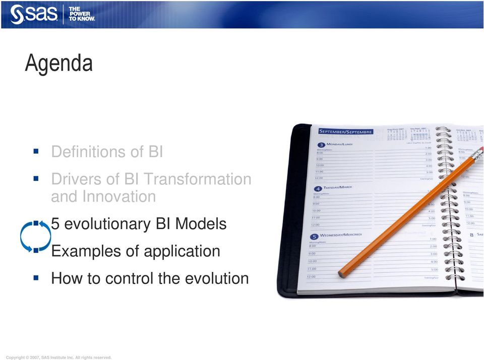 evolutionary BI Models Examples of
