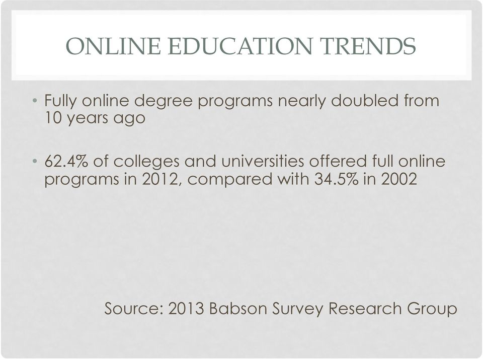 4% of colleges and universities offered full online