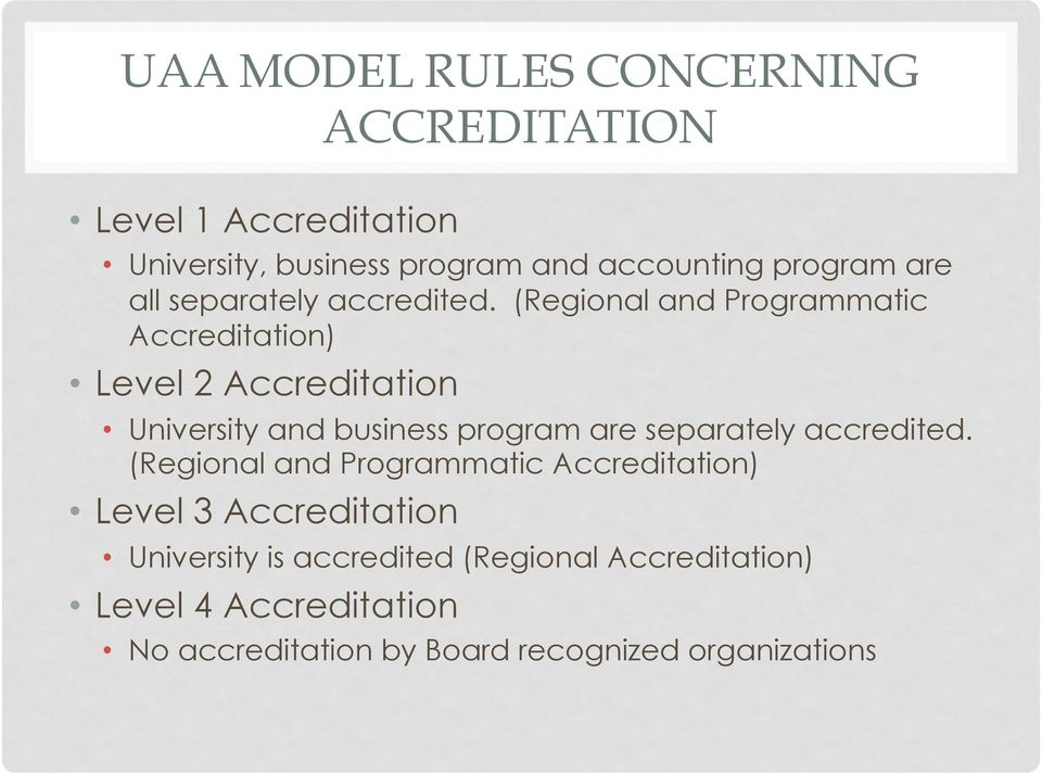 (Regional and Programmatic Accreditation) Level 2 Accreditation University and business program are separately