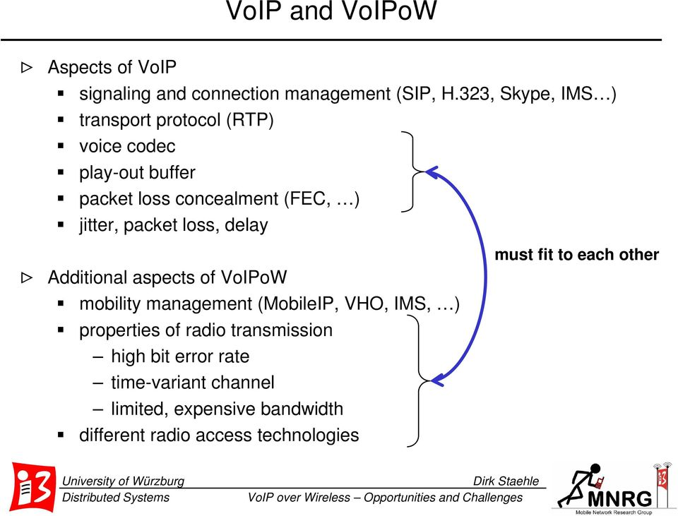 packet loss, delay > Additional aspects of VoIPoW mobility management (MobileIP, VHO, IMS, ) properties of