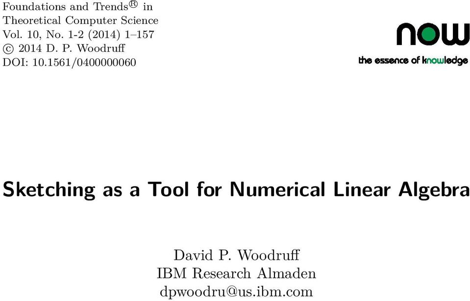 1561/0400000060 Sketching as a Tool for Numerical Linear