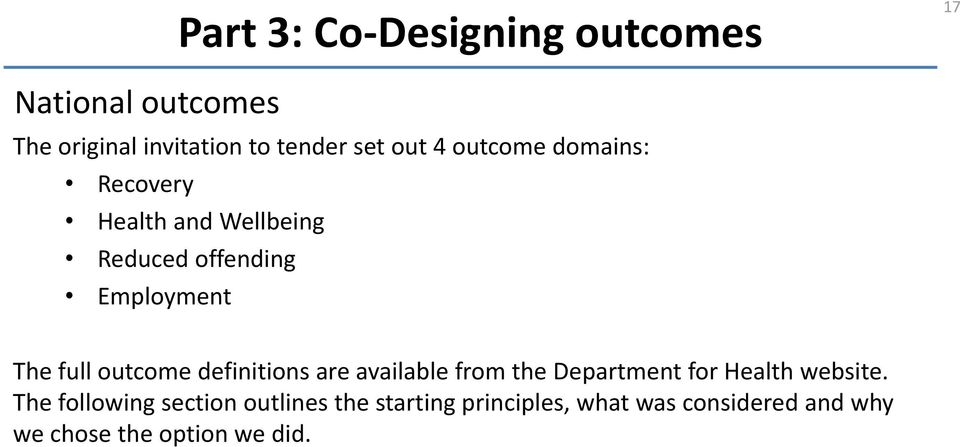 outcome definitions are available from the Department for Health website.