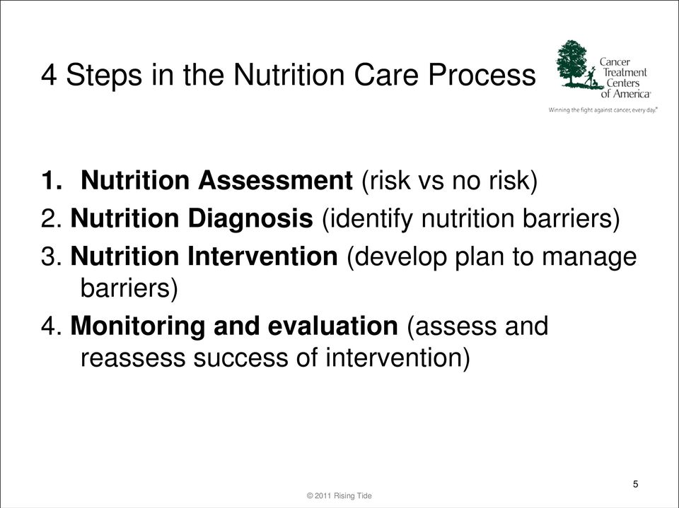 Nutrition Diagnosis (identify nutrition barriers) 3.