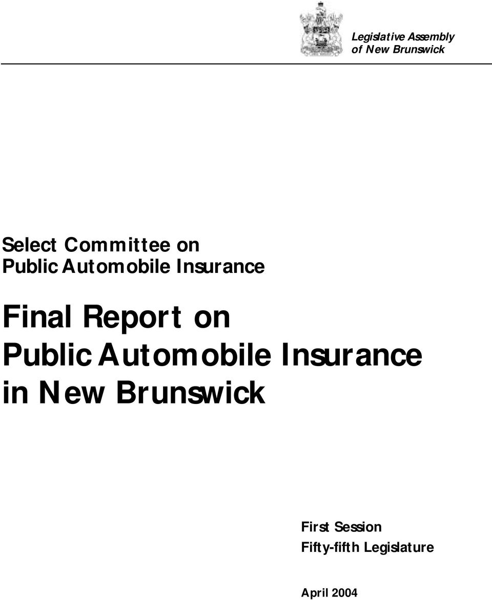 Report on Public Automobile Insurance in New
