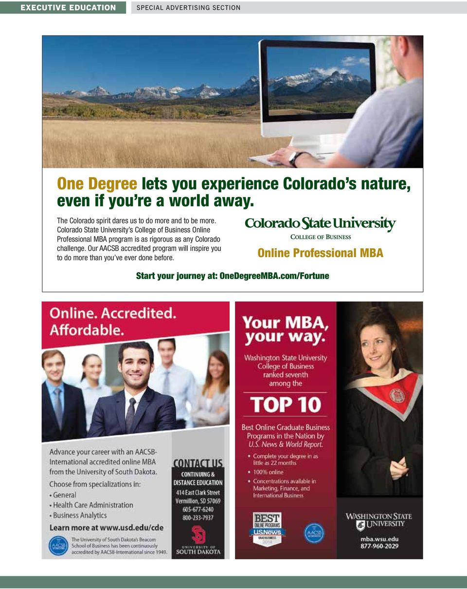 Colorado State University s College of Business Online Professional MBA program is as rigorous as any