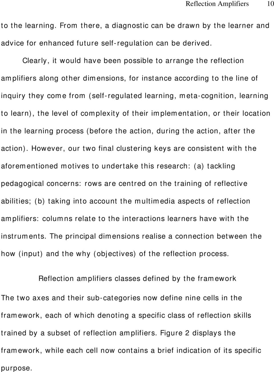 meta-cognition, learning to learn), the level of complexity of their implementation, or their location in the learning process (before the action, during the action, after the action).
