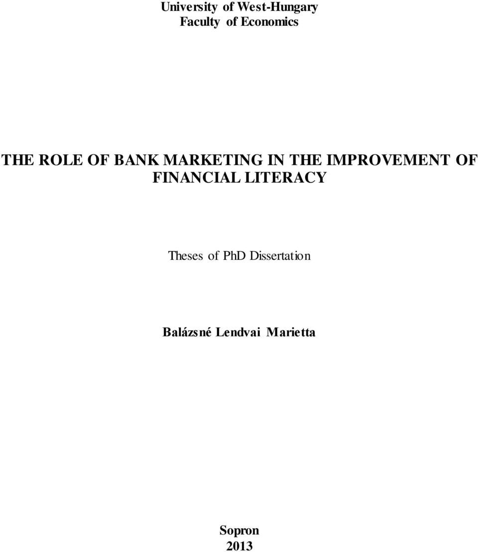 IMPROVEMENT OF FINANCIAL LITERACY Theses of