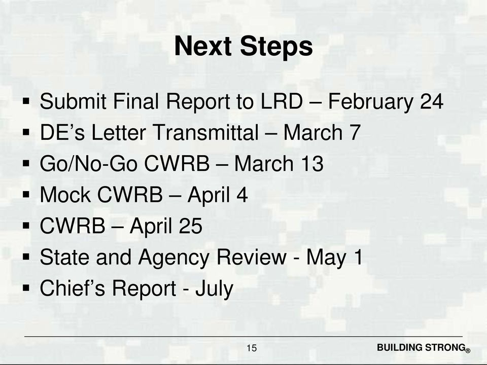 March 13 Mock CWRB April 4 CWRB April 25 State