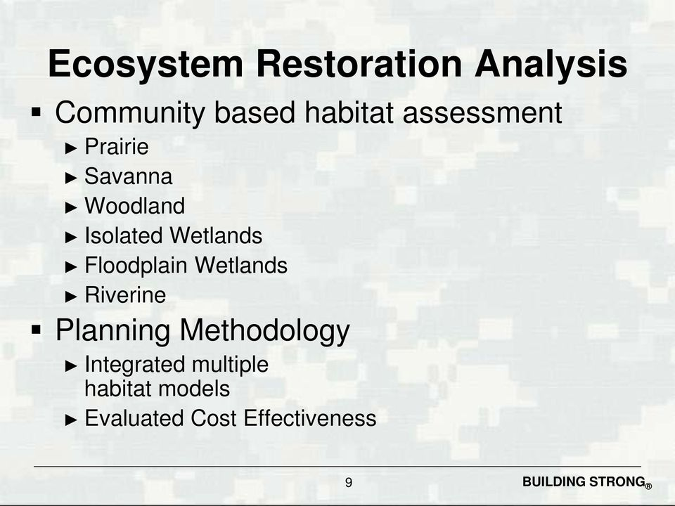 Floodplain Wetlands Riverine Planning Methodology