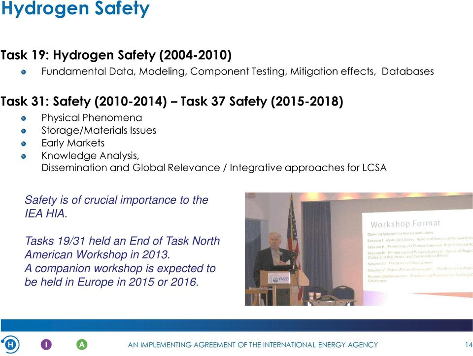 Analysis, Dissemination and Global Relevance / Integrative approaches for LCSA Safety is of crucial importance to the IEA HIA.