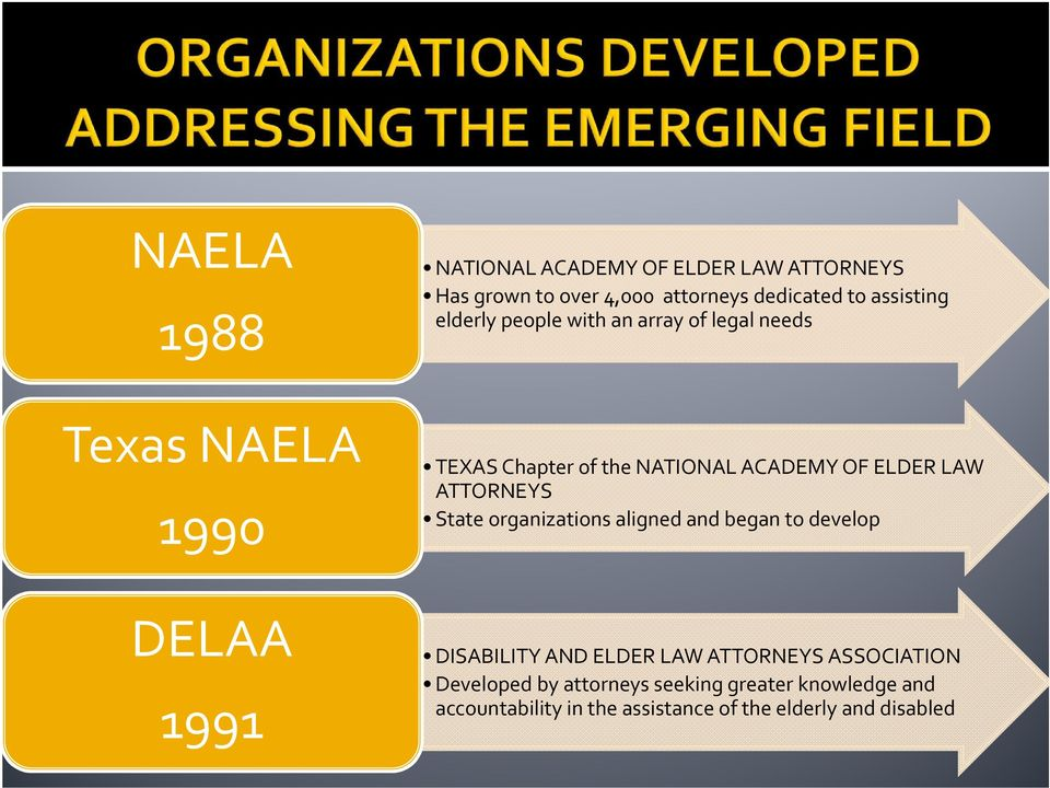 ATTORNEYS State organizations aligned and began to develop DELAA 1991 DISABILITY AND ELDER LAW ATTORNEYS