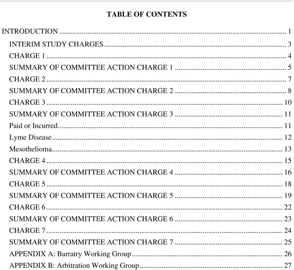 .. 12 Mesothelioma... 13 CHARGE 4... 15 SUMMARY OF COMMITTEE ACTION CHARGE 4... 16 CHARGE 5... 18 SUMMARY OF COMMITTEE ACTION CHARGE 5... 19 CHARGE 6.