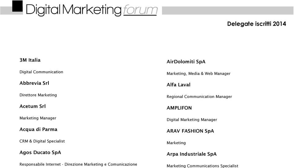 Comunicazione AirDolomiti SpA Marketing, Media & Web Manager Alfa Laval Regional Communication