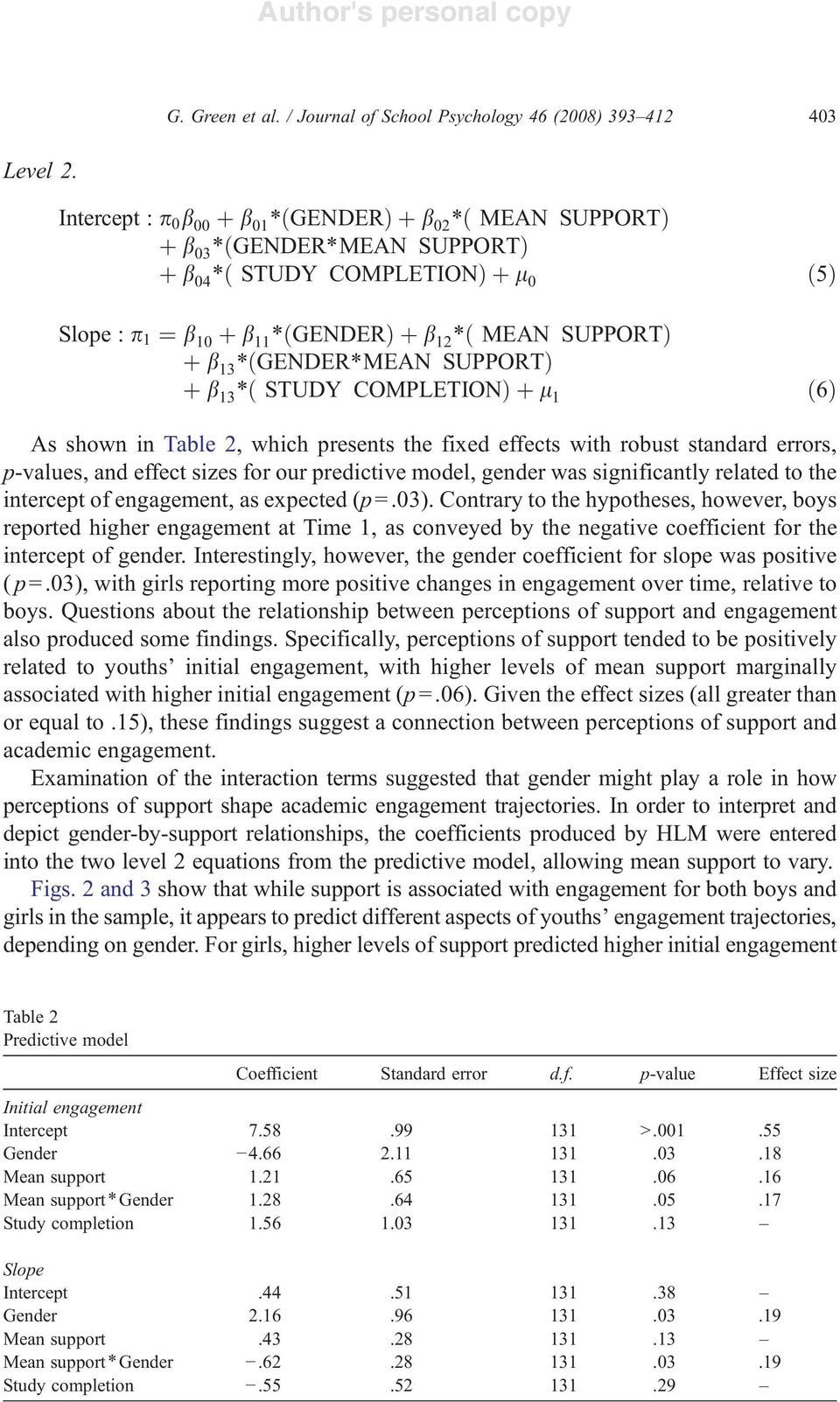 SUPPORTÞ þ b 13 ð STUDY COMPLETIONÞþl 1 ð5þ ð6þ As shown in Table 2, which presents the fixed effects with robust standard errors, p-values, and effect sizes for our predictive model, gender was