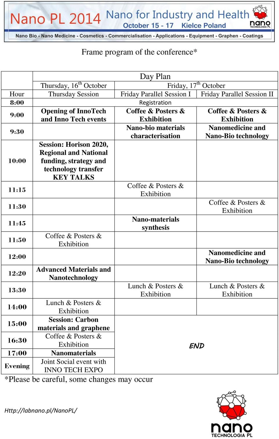 11:15 11:30 11:45 11:50 12:00 12:20 13:30 Session: Horison 2020, Regional and National funding, strategy and technology transfer KEY TALKS Coffee & Posters & Advanced Materials and Nanotechnology