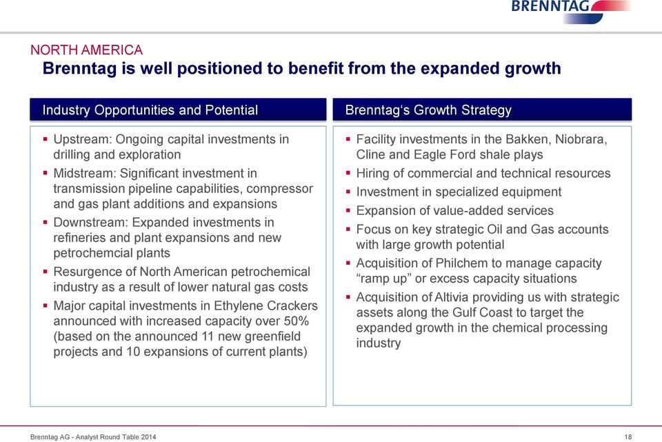 petrochemcial plants Resurgence of North American petrochemical industry as a result of lower natural gas costs Major capital investments in Ethylene Crackers announced with increased capacity over