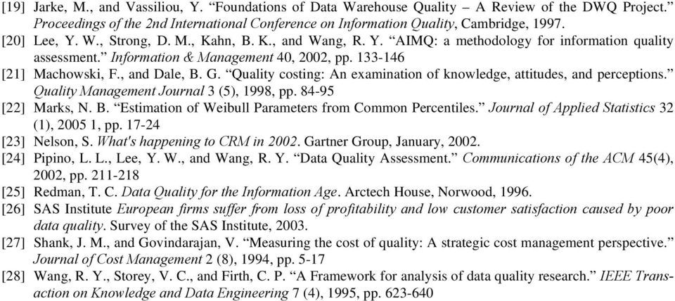 Quality costing: An examination of knowledge, attitudes, and perceptions. Quality Management Journal 3 (5), 1998, pp. 84-95 [22] Marks, N. B. Estimation of Weibull Parameters from Common Percentiles.