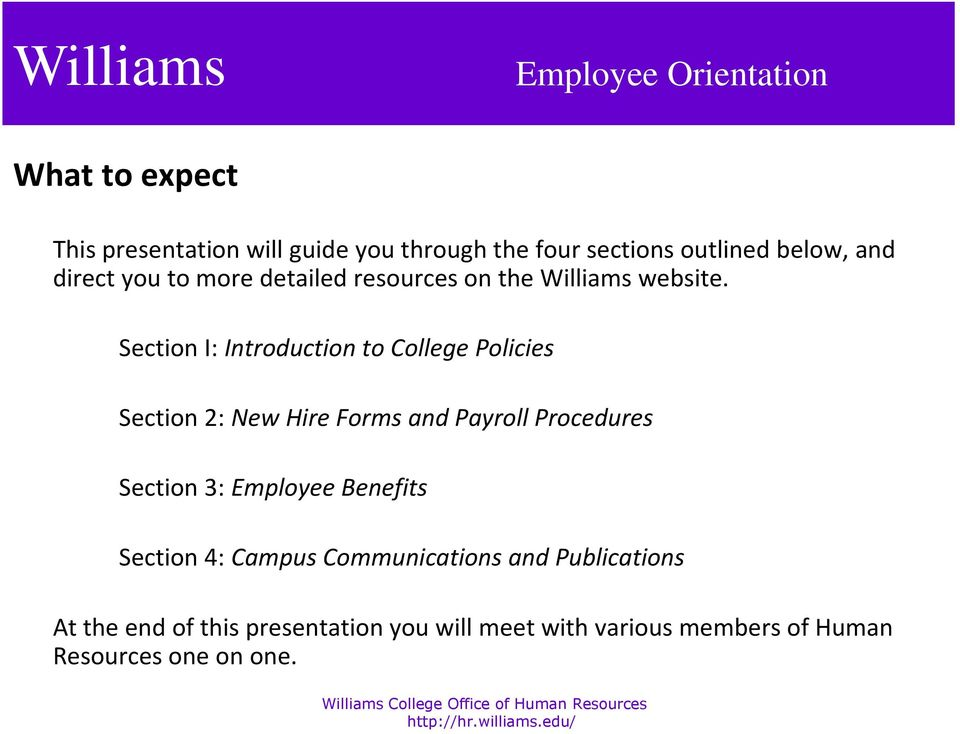 Section I: Introduction to College Policies Section 2: New Hire Forms and Payroll Procedures Section 3: