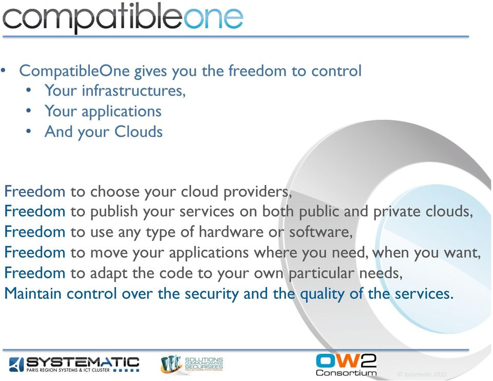 use any type of hardware or software, Freedom to move your applications where you need, when you want, Freedom