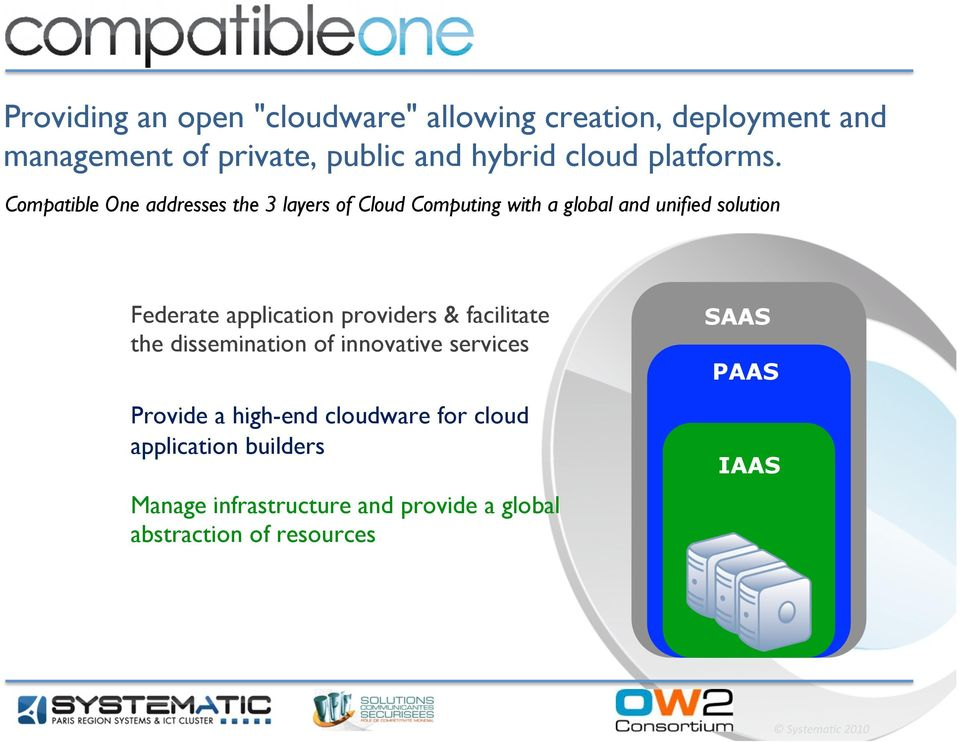 Compatible One addresses the 3 layers of Cloud Computing with a global and unified solution Federate