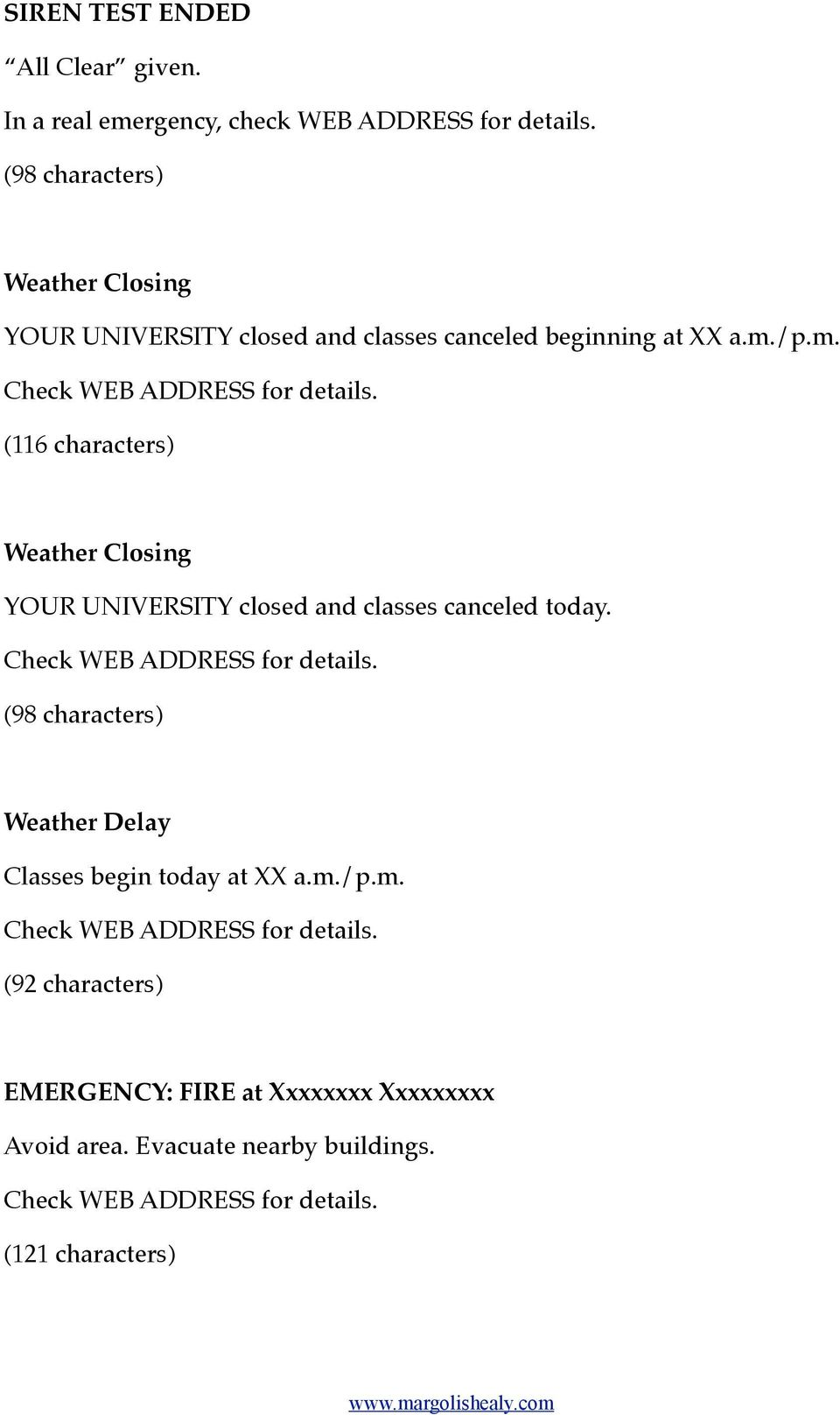 /p.m. (116 characters) Weather Closing YOUR UNIVERSITY closed and classes canceled today.