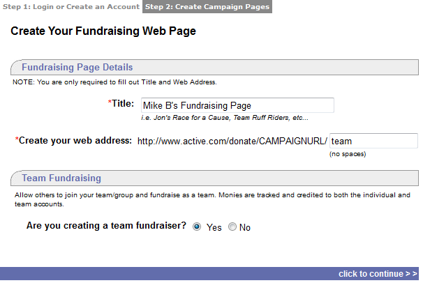 CREATE TEAM If the organization that created the donation campaign allows for fundraising teams, refer to the following instructions to create a team fundraising page.