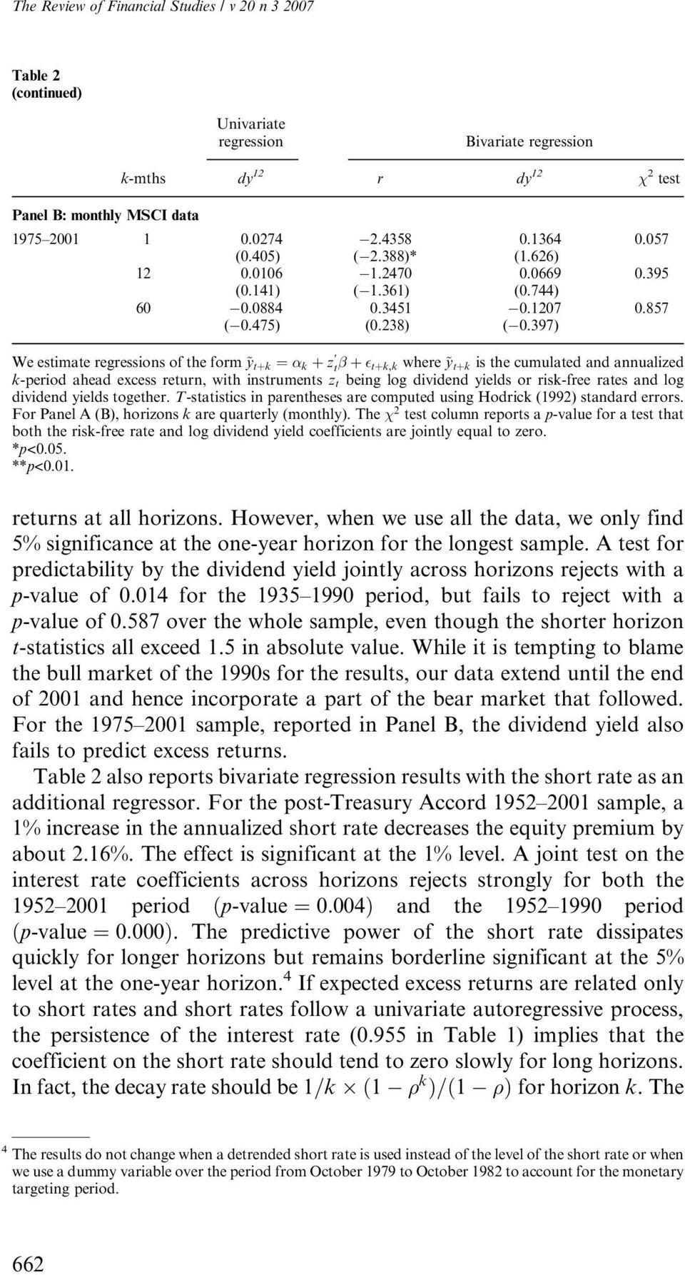 397) We estimate regressions of the form ~y tþk ¼ k þ z t þ tþk,k where ~y tþk is the cumulated and annualized k-period ahead excess return, with instruments z t being log dividend yields or