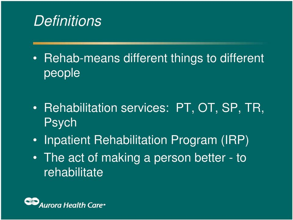 SP, TR, Psych Inpatient Rehabilitation Program