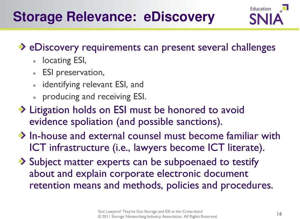 Litigation holds on ESI must be honored to avoid evidence spoliation (and possible sanctions).