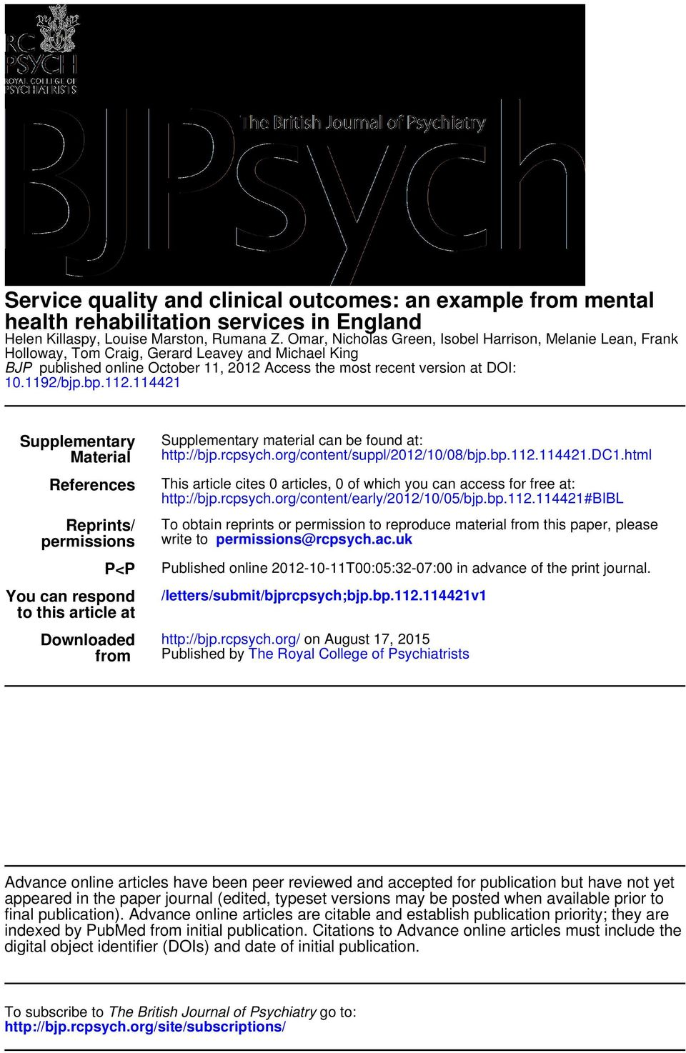 bp.112.114421 Supplementary Material References Reprints/ permissions P<P You can respond to this article at Downloaded from Supplementary material can be found at: http://bjp.rcpsych.