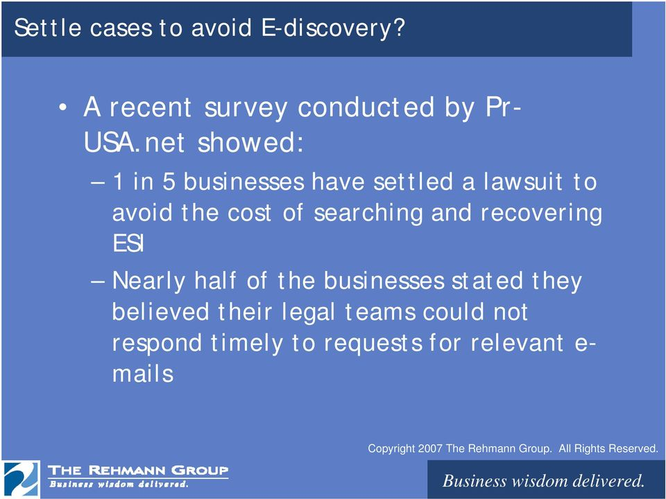 searching and recovering ESI Nearly half of the businesses stated they