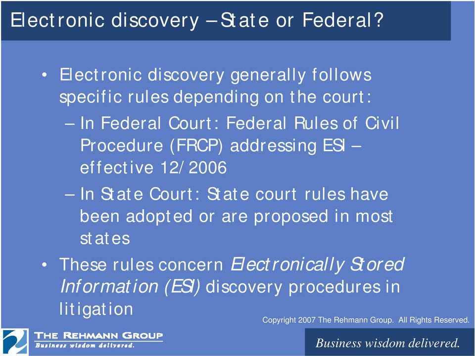 Federal Rules of Civil Procedure (FRCP) addressing ESI effective 12/2006 In State Court: State
