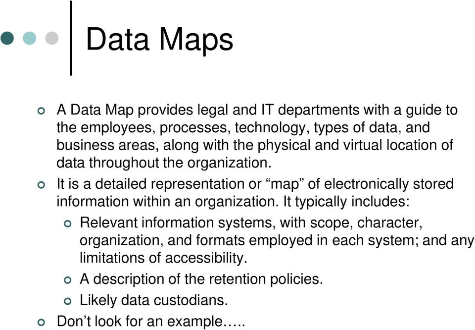 It is a detailed representation or map of electronically stored information within an organization.