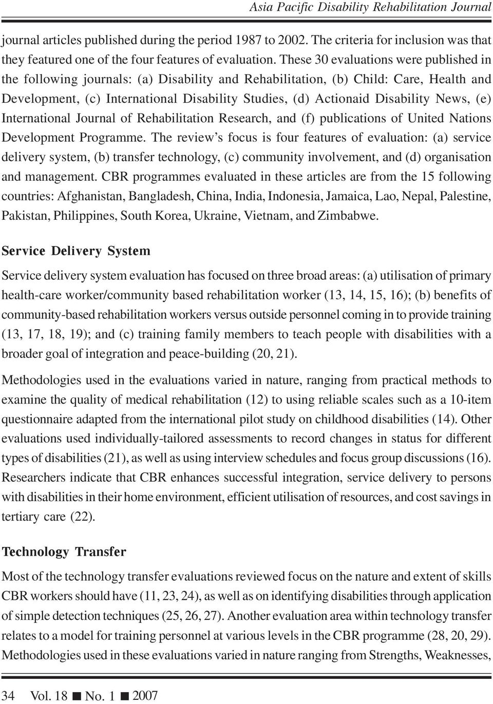 Disability News, (e) International Journal of Rehabilitation Research, and (f) publications of United Nations Development Programme.