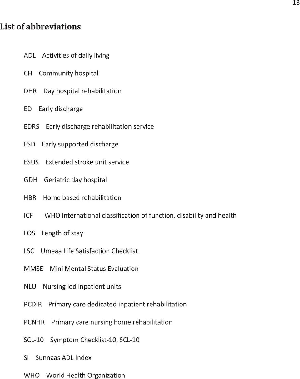 function, disability and health LOS Length of stay LSC Umeaa Life Satisfaction Checklist MMSE Mini Mental Status Evaluation NLU Nursing led inpatient units PCDIR Primary