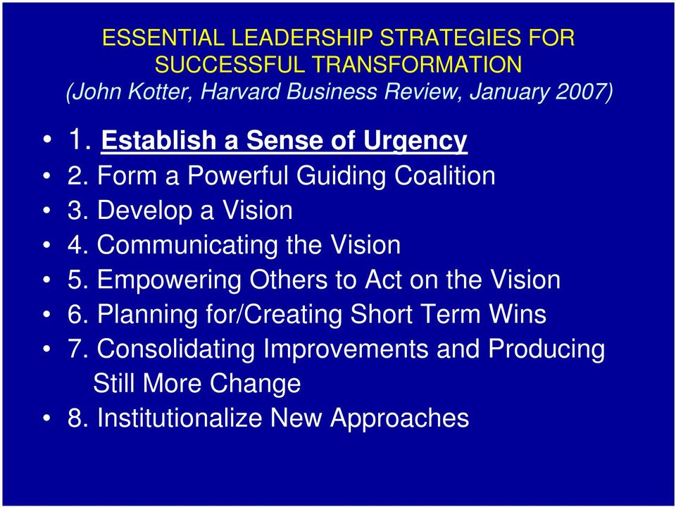 Develop a Vision 4. Communicating the Vision 5. Empowering Others to Act on the Vision 6.