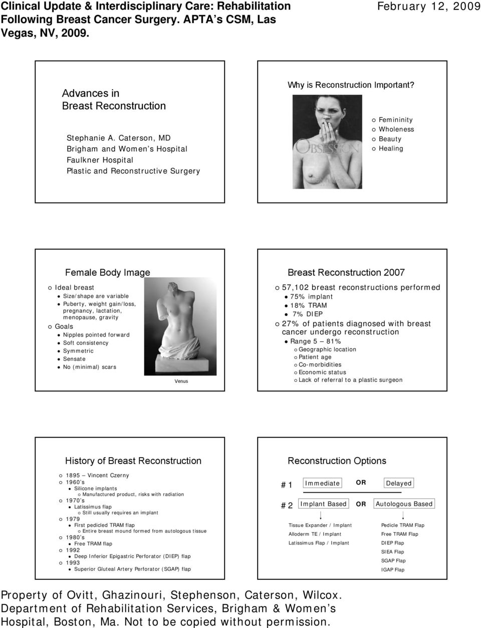 consistency Symmetric Sensate No (minimal) scars Venus Breast Reconstruction 2007 57,102 breast reconstructions performed 75% implant 18% TRAM 7% DIEP 27% of patients diagnosed with breast cancer