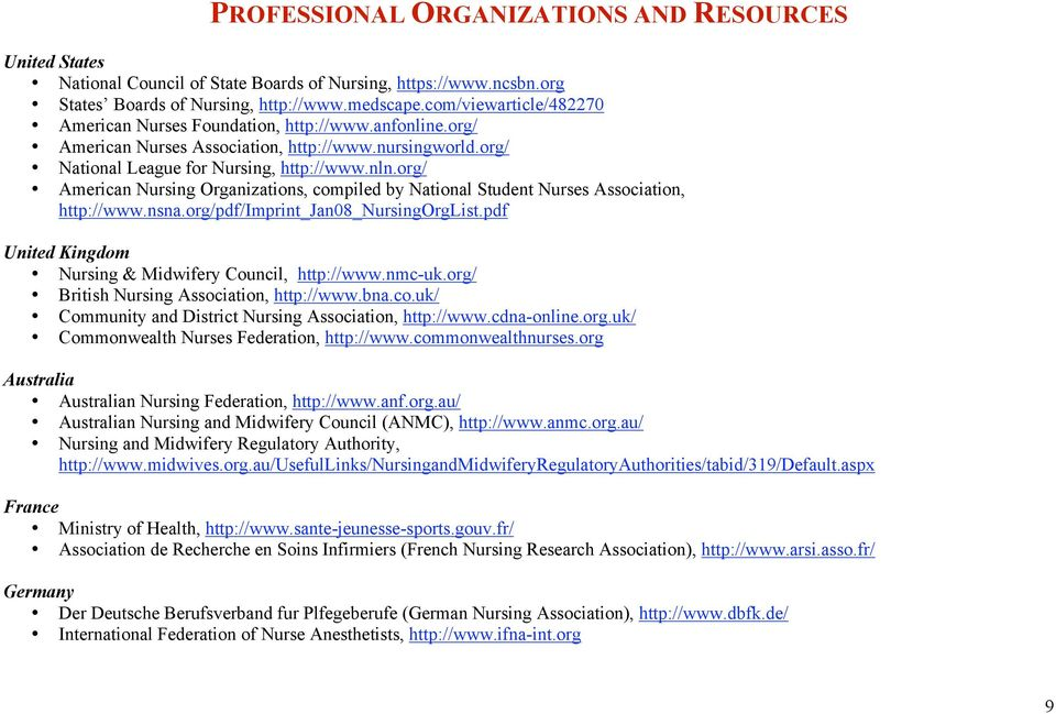 org/ American Nursing Organizations, compiled by National Student Nurses Association, http://www.nsna.org/pdf/imprint_jan08_nursingorglist.pdf United Kingdom Nursing & Midwifery Council, http://www.