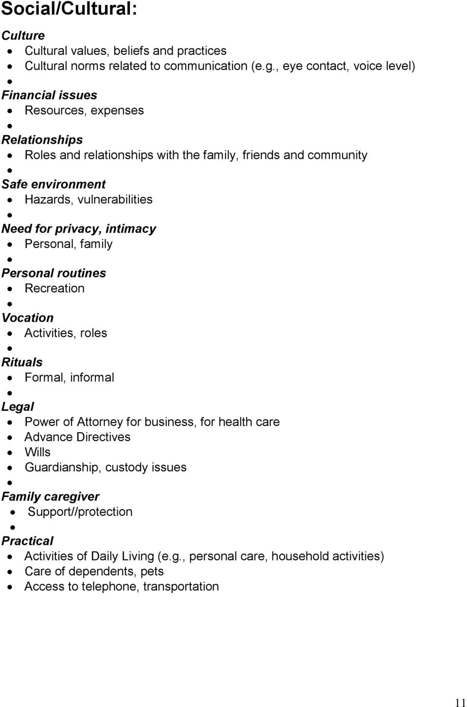vulnerabilities Need for privacy, intimacy Personal, family Personal routines Recreation Vocation Activities, roles Rituals Formal, informal Legal Power of Attorney for