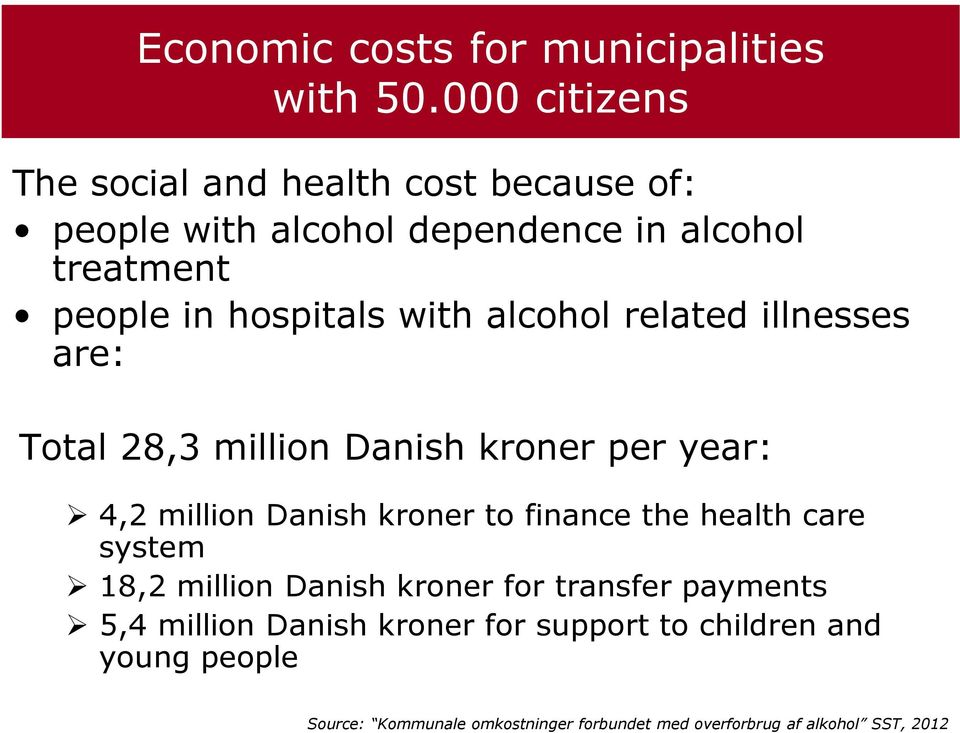 with alcohol related illnesses are: Total 28,3 million Danish kroner per year: 4,2 million Danish kroner to finance the