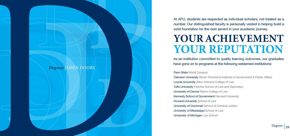 YOUR ACHIEVEMENT YOUR REPUTATION As an institution committed to quality learning outcomes, our graduates have gone on to programs at the following esteemed institutions: Penn State World Campus
