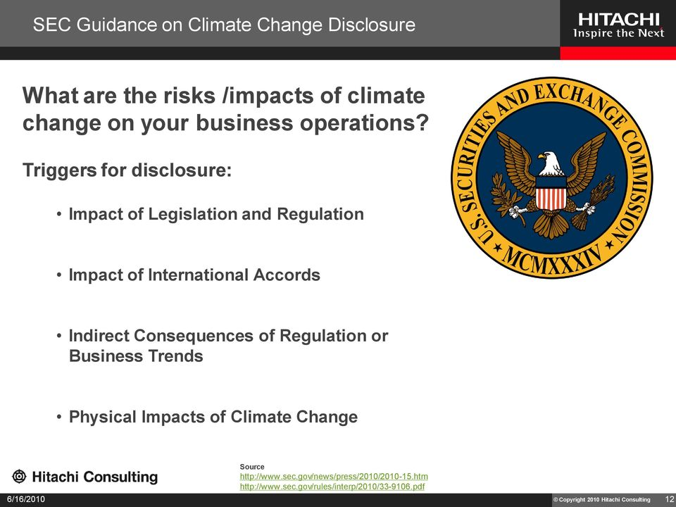 Triggers for disclosure: Impact of Legislation and Regulation Impact of International Accords Indirect