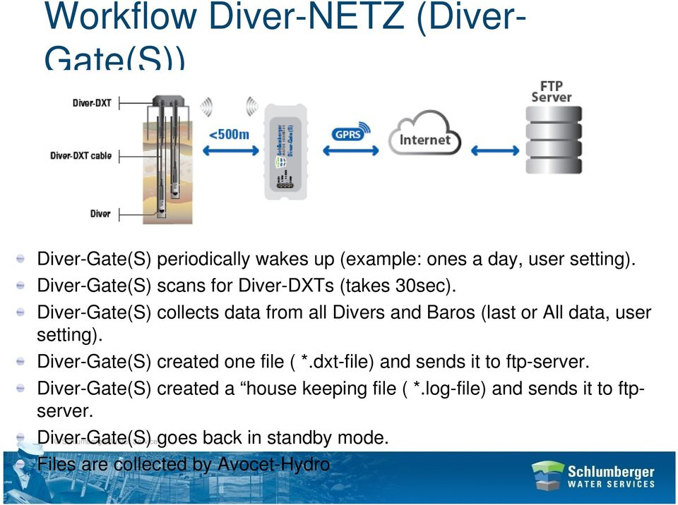 Diver-Gate(S) collects data from all Divers and Baros (last or All data, user setting).