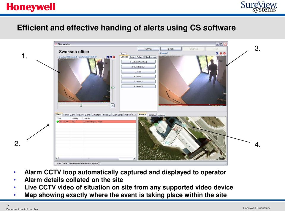 details collated on the site Live CCTV video of situation on site from any